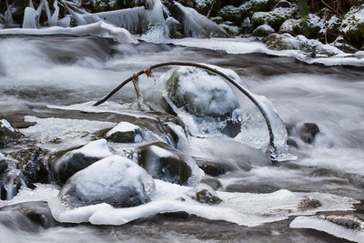 Interesting ice in Bridal Veil Creek below the waterfall.